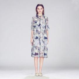 图案印花特色气质长裙立领系带气质名媛款连衣裙