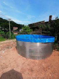 大棚养鱼铁桶水池帆布池水蛭锦鲤蓄水游泳池定制