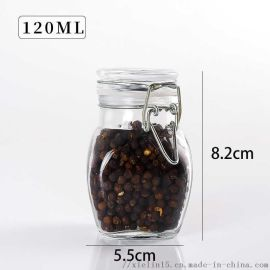 玻璃密封调料罐子不锈钢卡扣调料瓶
