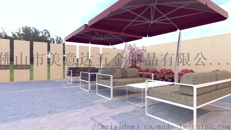 創意簡約酒店不鏽鋼沙發茶几 戶外休閒防水不鏽鋼沙發
