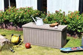 户外塑料仿木纹储物箱花园庭院防水防紫外线工具箱