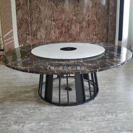 圆形火锅桌洽谈桌椅组合圆形电动餐桌小户型餐台组合