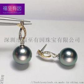 視覺盛宴 新款交錯黑珠耳釘|福至有因珠寶