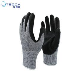 黑色五级防切割磨砂手套