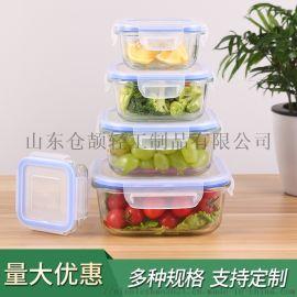 正方形高硼硅耐热玻璃带盖保鲜盒 加热保鲜便当饭盒