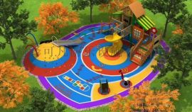 幼儿园碳化积木 木质荡桥 儿童户外攀爬架