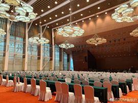 会议中心金属装饰木纹铝方通铝格栅天花吊顶