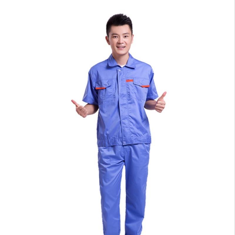工作服套裝男短袖翻領分體工裝服 夏季工作服大量定製