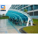 宁波金驰棚业厂家定制阳光板自行车棚,户外停车棚
