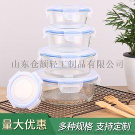 圆形高硼硅耐热玻璃保鲜盒 微波炉烤箱用便当盒