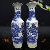 景德镇陶瓷落地大花瓶  中国红花瓶 手绘瓶