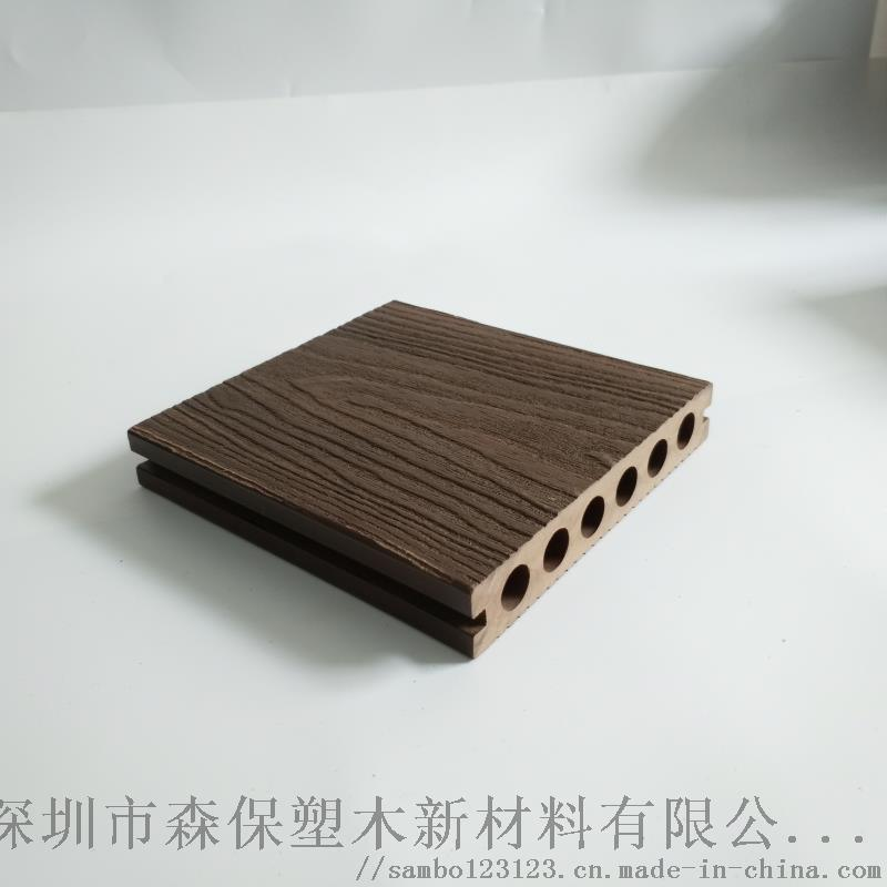142*25mm戶外長條塑木地板圓孔龍紋木現貨學校綠化帶公園防腐生態