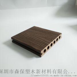 142*25mm户外长条塑木地板圆孔龙纹木现货学校绿化带公园防腐生态