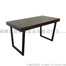 工业风桌子定做,做旧餐厅餐桌,订制餐饮店餐台