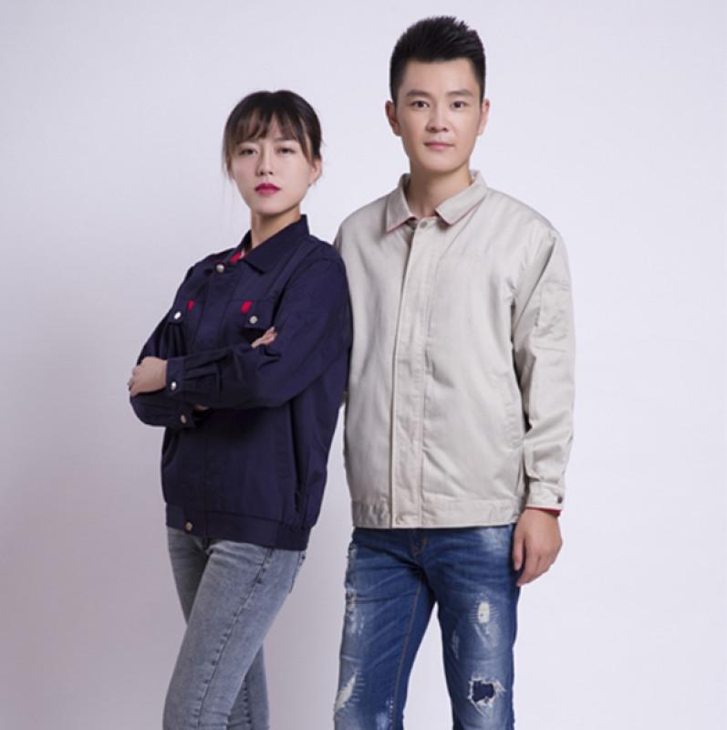 春秋長袖滌棉勞保工作服 汽車工程防靜電工裝服