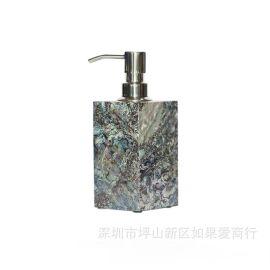 欧式木质鲍鱼贝壳卫浴套装洗手液瓶子样板房洗手台家居装饰摆件