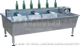 毛刷式刷瓶机自动翻转式洗瓶机浸泡池刷瓶机