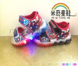 厂家直销凉鞋 美国队长 闪灯鞋 帅气童鞋 凉鞋