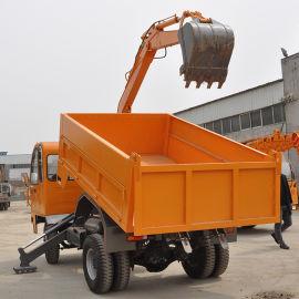 轮式装载挖掘机价格 四不像随车挖运输车 农用随车挖