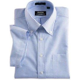 UNHERO皇家免烫牛津纺全棉短袖衬衫(蓝白条纹)