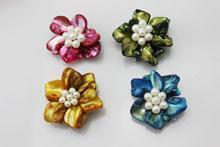 异形贝壳三排扣 淡水珍珠 饰品 外贸