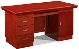 1416款1.4米油漆办公桌光面 胡桃木皮环保家具