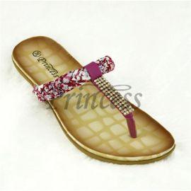 PrincessD0043镶钻T型带凉鞋女编织PU皮凹槽女式凉鞋