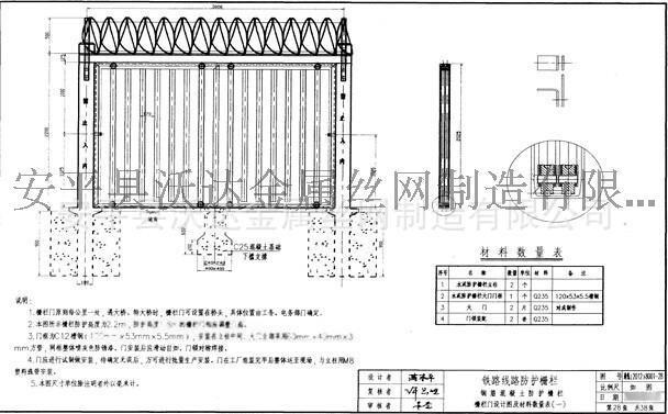 铁路防护栅栏门 通线2012(8001)金属栅栏门