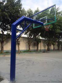 直径165圆管地埋篮球架 直径219篮球架配钢化玻璃篮板