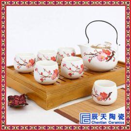 手绘青花瓷茶具 粉彩功夫茶具 颜色釉陶瓷茶具