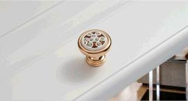 创强五金厂家低价直销锌合金压铸**圆形单孔镶钻镀金拉手