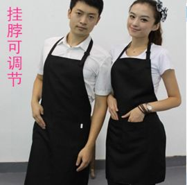 訂做時尚工作服餐廳奶茶美容美甲店員可調節掛脖圍裙定制企業LOGO