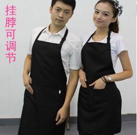 订做时尚工作服餐厅奶茶美容美甲店员可调节挂脖围裙定制企业LOGO