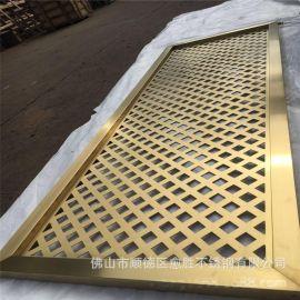 邯郸工厂黄钛金不锈钢门花格  拉丝不锈钢金色隔断 数量大价格优