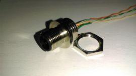 以太网M12嵌入式工业交换机插座,M12法兰交换机航空插座,M12工业交换机插座