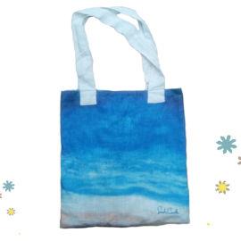 帆布手提袋蓝色海滩手提袋礼品广告包定制