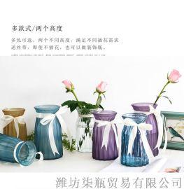 柒瓶透明玻璃花瓶欧式创意设计彩色磨砂花瓶摆件