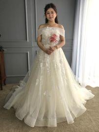 2017米白色活动一字肩飘逸肩带新款婚纱