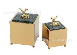不锈钢金属金色方形大理石鹿头鹿仔首饰收纳盒样板间摆件欧式