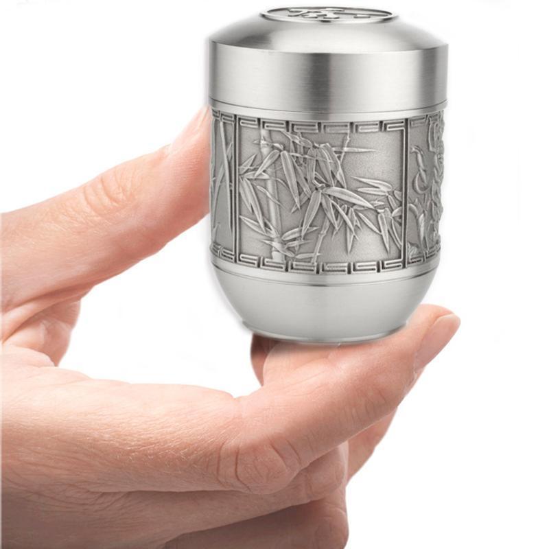 泰国锡器 梅兰竹菊锡茶罐 材质珍 适合爱茶人士收藏