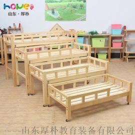 【幼儿园四层推拉床】山东厚朴 实木幼儿园午睡床 儿童四层推拉床简约现代可定制