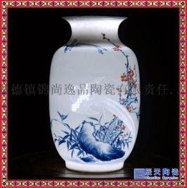 景德镇家居装饰品摆件 新中式纯手工半刀泥薄胎花瓶