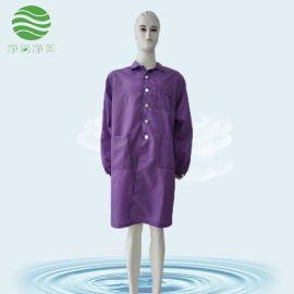 防静电大褂 紫色条纹翻领 无尘车间工作服