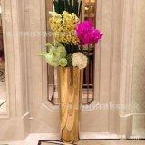 厂家直销不锈钢花盆钛金多肉花盆花器园艺花架工艺锥形花器爆款
