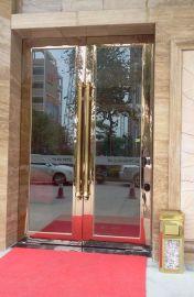中山展厅地弹门,玫瑰金不锈钢地弹门