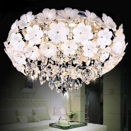 凯奢灯饰 现代时尚田园卧室灯进口水晶花朵花瓣吸顶灯书房灯