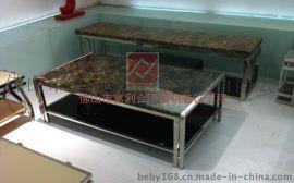 定做椭圆形玫瑰金不锈钢茶几桌台 KTV不锈钢茶几生产