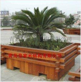 胶州防腐木花箱 木制花盆