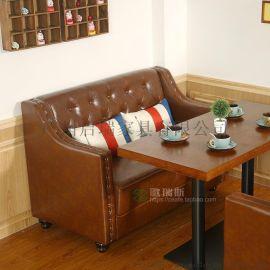 美式西餐厅咖啡厅沙发桌椅 甜品店茶餐厅 奶茶双人桌椅卡座组合