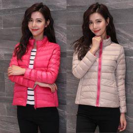 冬季工作服白鸭绒女士羽绒服 轻薄短款双面穿加大码 韩版修身外套